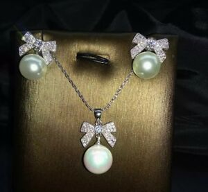 14k White Gold Bow Pearl Pendant Necklace Earring Set made w Swarovski Crystal
