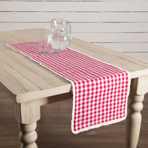 New Cottage Chic Farmhouse Retro Vintage Picnic Red Check Table Runner 36quot;