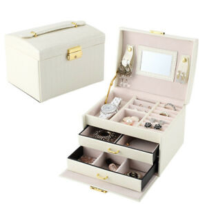 Portable Women's Jewelry Earrings Necklace Display Organizer Box Case With Lock