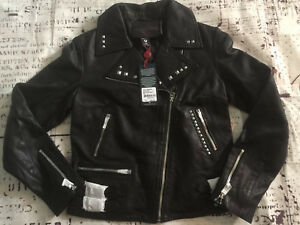 New True Religion Women Embellished Leather Moto Jacket WSQBJ5BH6 $599 Sz:XS S L