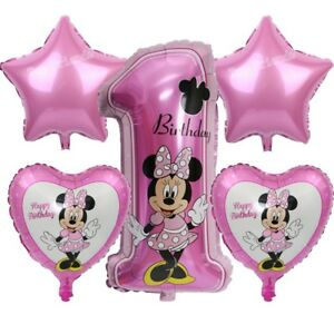 Minnie Mouse 1st birthday balloons, Pink