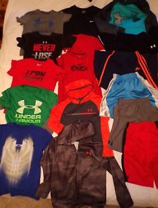 Boys Under Armour Nike Adidas Hoodies Pants Tops shorts Lot of 15~Youth Sm