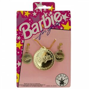Wholesale Lot of 36 Units Barbie For Girls Gold Earrings & Necklace Set Nice