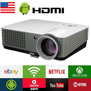 4500 Lumen Android WiFi Home Theater Multimedia USB HDMI 1080P LCD LED Projector