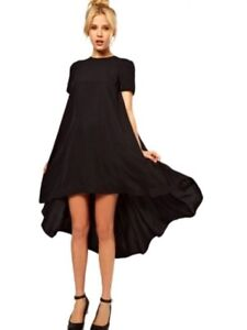 NEW Black Haoduoyi Short Sleeve High Low Swing Cocktail Dress Sz L (US 6)