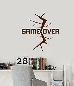 Vinyl Wall Decal Video Game Over Crack Gamer Room Words Stickers (2936ig)