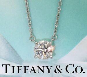 $8200 Tiffany & Co Peretti VVS2 .71CT Diamond By The Yard Solitaire Necklace
