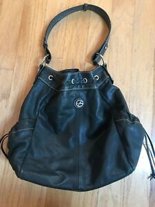 Francesco Biasia Black Leather Draw String Large Hobo Handbag Designer Excellent