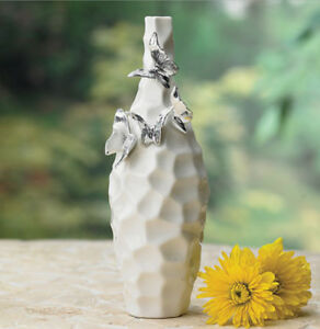 Vase Butterfly Ceramic White Vase with Silver Vintage Handpainted Butterfly NEW