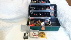 Vintage Umco 204 U Fishing Tackle Box Full Of Musky and Other Lures and More