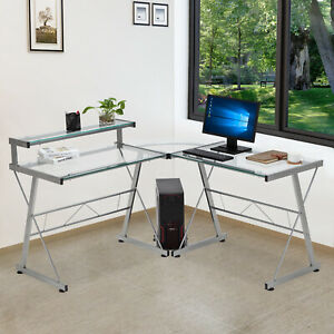 L-Shape Glass Concer Computer Desk PC Laptop Table Workstation Home Office Clear