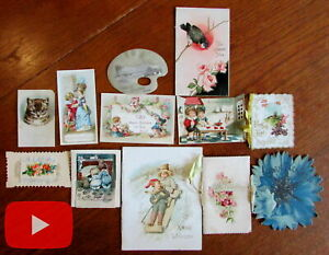 Chromolithography ephemera lot x 12 items booklets color printing flowers $120.00