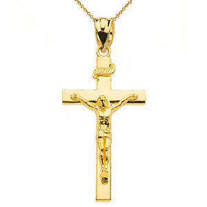 Solid 14k Yellow Gold Jesus Crucifix Inri Cross 1.60