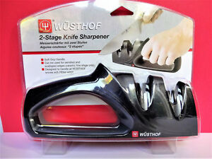 WUSTHOF 2 STAGE KNIFE SHARPENER PULL THROUGH Hand Held EASY Pre-Set Angles