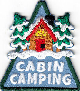 CABIN CAMPING Iron On Patch Scouts Cub Boy Girl Camper Vacation Trip