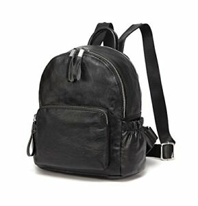 Mini Backpack PurseVaschy Faux Leather Small Backpack for Women (Black)