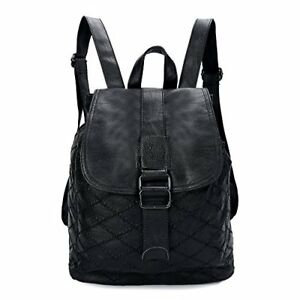 Women Small Backpack Leather Purse Fashion Ladies Casual Daypack for (Black#1)
