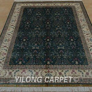 YILONG 5.9'x8.2' Persian Hand knotted Silk Rug Durable All-over Area Carpet 0760