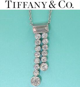 $6500 Tiffany & Co Jazz .74CT Diamond By The Yard Pendant Necklace in Platinum