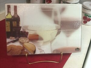 Gourmet Traditions Chop Topper Cutting Board Tempered Glass Wine and Cheese