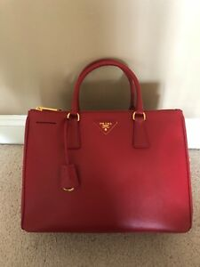 Authentic Prada Galleria Bag Fuoco Red Leather GHW 1BA274 $2390 Mint!!