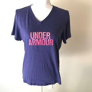 Women's Under Armour Shirt Dry Fit Heat Gear Running L Loose Fit V Neck purple
