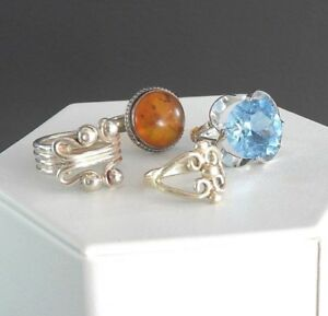 Vintage Cocktail Rings Lot Womens Jewelry Solid 925 Sterling Silver Amber Glass