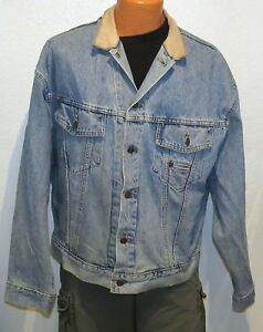 vtg Levi's BLUE JEAN LEATHER COLLAR Jacket LARGE 90s RedTab Trucker 75597 canada