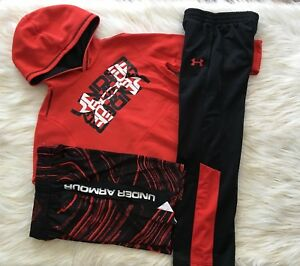 3PC. Under Armour UA Pullover Hoodie Pants & Shorts Boys Youth size Small 7