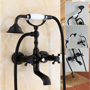 Oil Rubbed Bronze Bathtub Faucet with Tub Spout Ceramic Handheld Shower Mix Tap