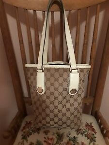 Authentic GUCCI GG Pattern Shoulder Tote Bag Canvas Leather IVORY