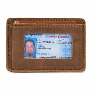 Saddleback Leather Co. Slim Full Grain Leather Front Pocket ID Window Wallet for
