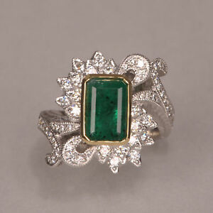 Emerald and diamond ring two tone gold roaring 20's design