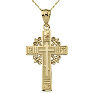 Polished Solid 14k Yellow Gold Religious Greek Orthodox Cross Pendant Necklace