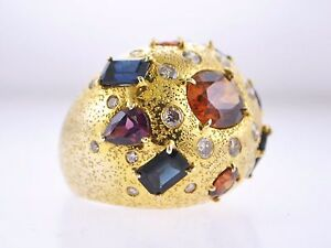 High-end Designer Ring Topaz Sapphire Diamond 14K Yellow Gold $20K VALUE!!!