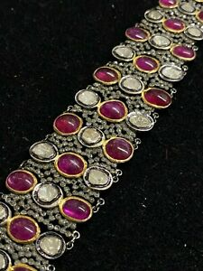 Rare Antique Design Large Diamond Ruby Bracelet in Silver & Gold Est $60K Value!