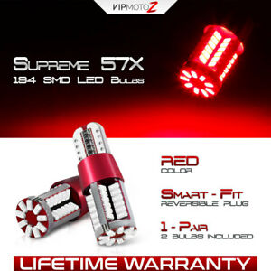 168 194 T10 Red LED 3rd Third Brake Stop Light Interior Dome Map Bulbs W5W 2825