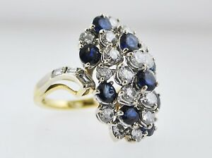 Designer Cocktail Ring Diamond Sapphire Platinum & 18K YG +11 TCW $40K VALUE