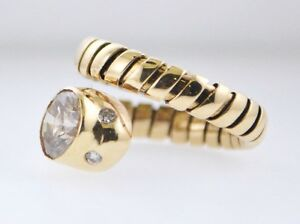 Designer Ring Cocktail Serpentine Snake Diamond Yellow Gold Coil Ring $20K VALUE
