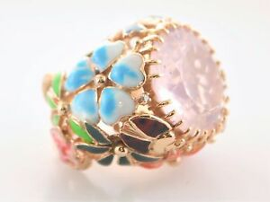 Designer Floral Ring 25 Cts. Morganite Diamonds Enamel 18K Rose Gold $10K VALUE