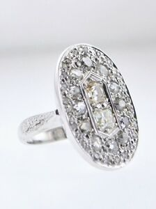 Designer Ring Diamond Oval Top White Gold Appr. 3 Cts. TCW 1920's $20K VALUE