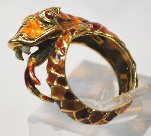 VINTAGE ITALIAN DESIGNER ENAMEL SNAKE WRAP AROUND RING IN 18K Y GOLD - $8K Value