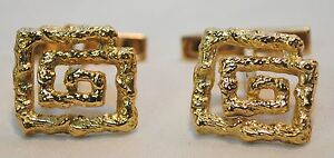 LALAOUNIS DESIGNER TEXTURED 18K YELLOW GOLD GREEK KEY CUFFLINKS - $10K VALUE