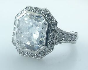 One Lady's Radiant Diamond Ring In Platinum Approx 12 ct Total For All Stones!