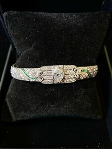 Designer's Diamond Bracelet w Emerald Intricate Art Deco Design +9 TCW in Plati