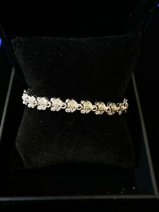 2.5+ DIAMOND BRACELET W SCALLOPED FLORAL DESIGN IN SOLID WHITE GOLD - $20K VALUE