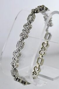 Diamond Tennis Bracelet Intricate Design App.1.8 TCW Solid White Gold $30K VALUE