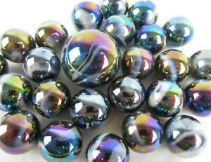 25 Glass Marbles MILKY WAY Purple Gold Oil Slick Metallic Iridescent Shooter new