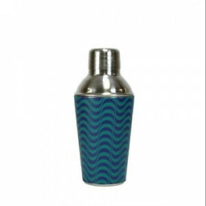 17cm Fashion Avenue Blue Wave Stainless Steel Mini Martini Cocktail Shaker
