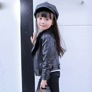 Fashionable Cool Kids Girls Biker Motorcycle Leather Jackets Coat Outwear Zipper